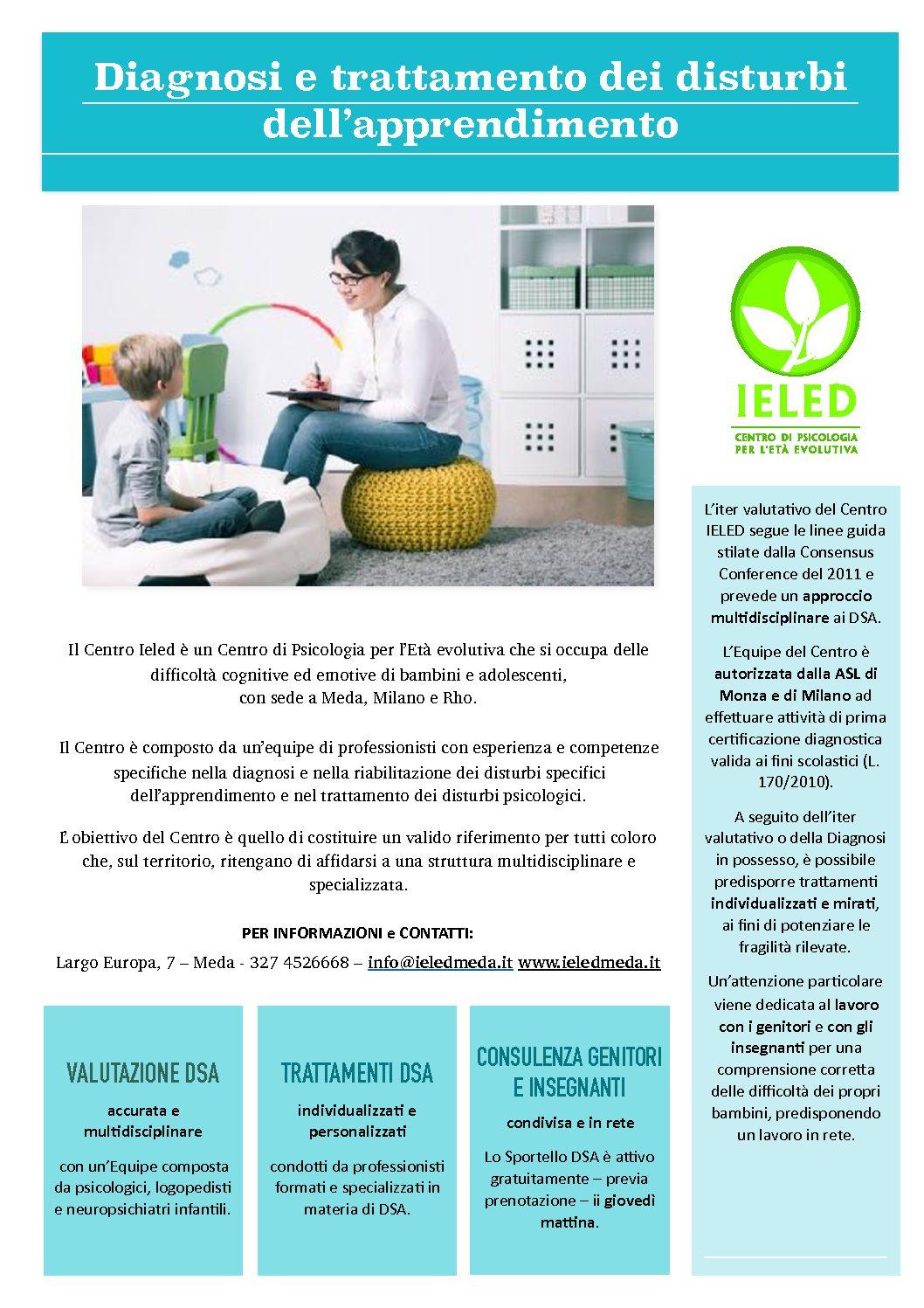 SPORTELLO DSA: Nuovo progetto al Centro Ieled di Meda